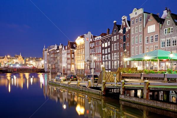 Ciudad Amsterdam noche pintoresco Holanda Países Bajos Foto stock © rognar