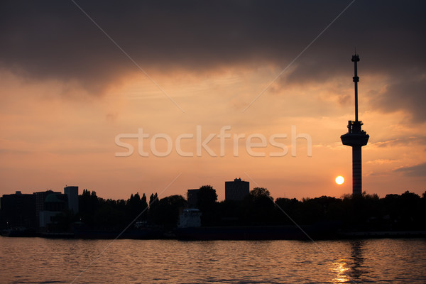 Euromast Tower at Sunset in Rotterdam Stock photo © rognar