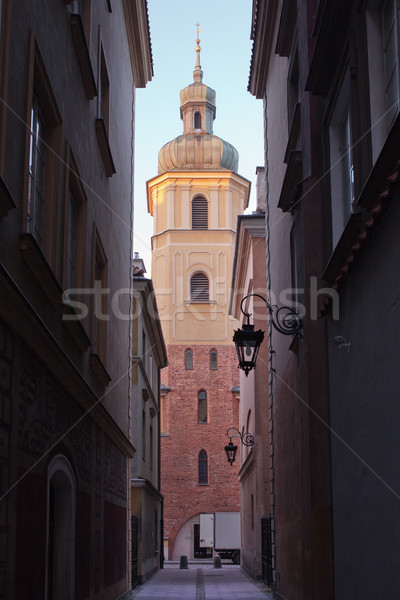 St. Martin's Church Bell Tower in Warsaw Stock photo © rognar