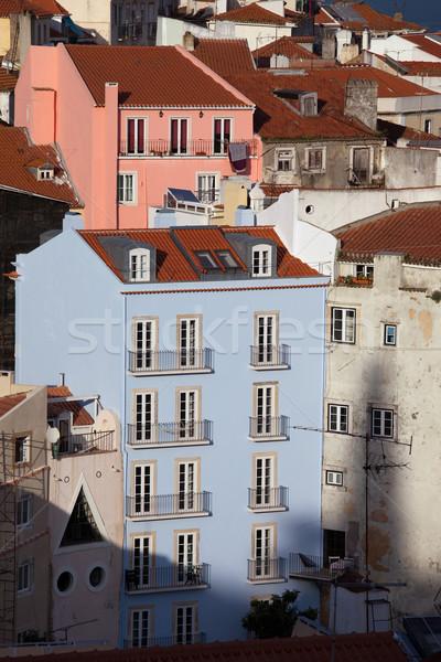 Case Lisbona vecchio città Portogallo residenziale Foto d'archivio © rognar