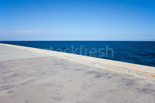Molo niebo morza szeroki konkretnych Zdjęcia stock © rognar