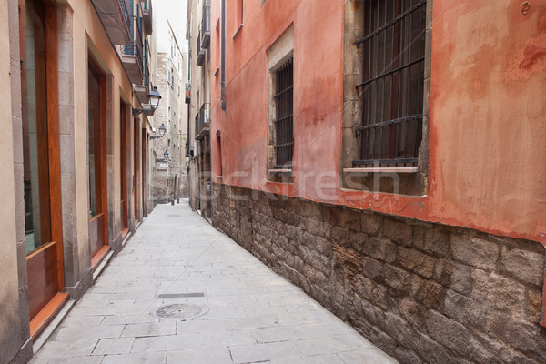 Narrow Alley in Gothic Quarter of Barcelona Stock photo © rognar