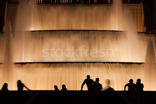 água noite Barcelona fonte cachoeira Foto stock © rognar
