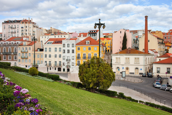 ストックフォト: 市 · リスボン · 都市 · 風景 · ポルトガル · 花