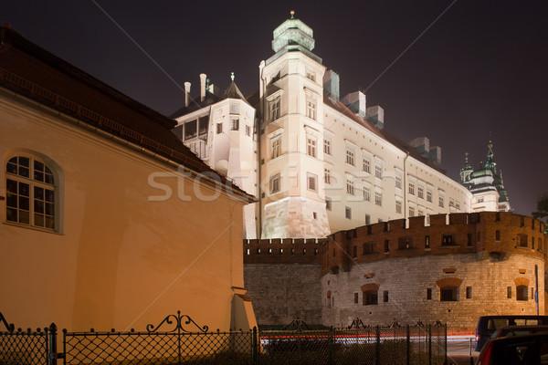 Királyi kastély éjszaka Krakkó Lengyelország város Stock fotó © rognar