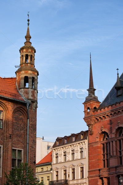 Corner Turrets of Historic Buildings in Torun Stock photo © rognar