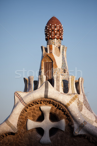 Top of the Casa del Guarda in Park Guell at Sunset Stock photo © rognar
