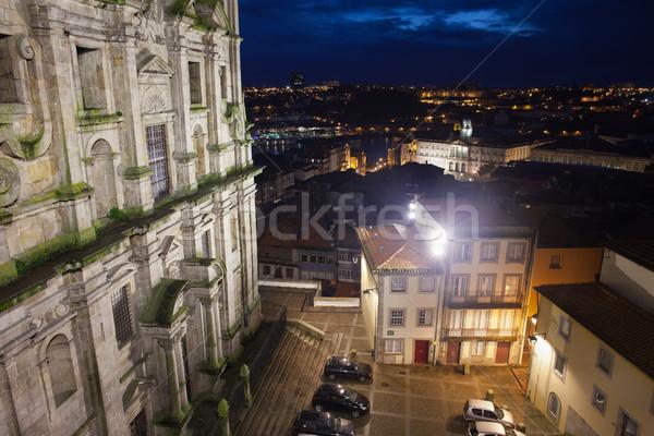 Nacht Portugal stadsgezicht kerk oude binnenstad Stockfoto © rognar