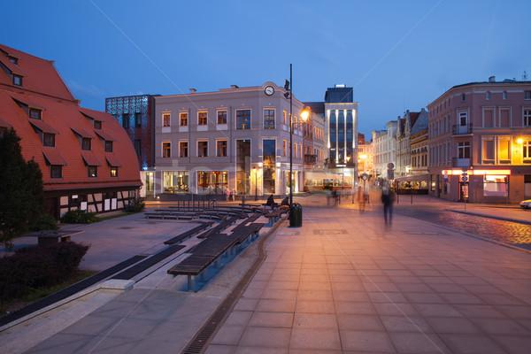 Ville Pologne nuit maison bâtiment bâtiments Photo stock © rognar