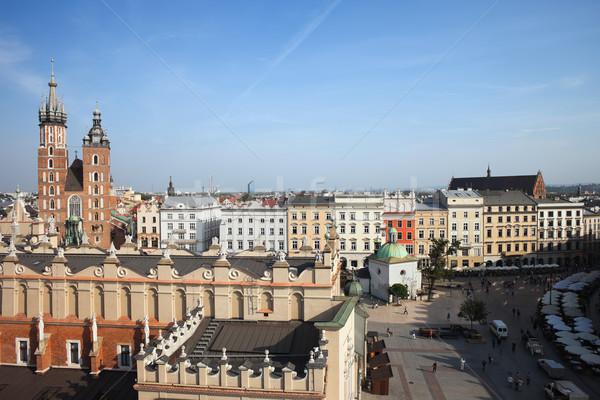 Barrio antiguo cracovia ciudad Polonia principal mercado Foto stock © rognar