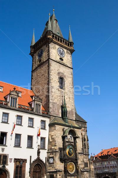 Praag oude stad hal klok toren Stockfoto © rognar