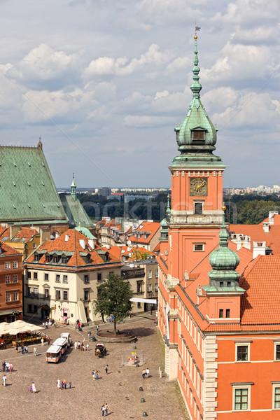 Oude binnenstad Warschau vierkante koninklijk kasteel Polen Stockfoto © rognar