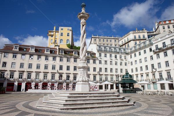 Lisszabon helyhatósági tér 18-adik század oszlop Portugália Stock fotó © rognar