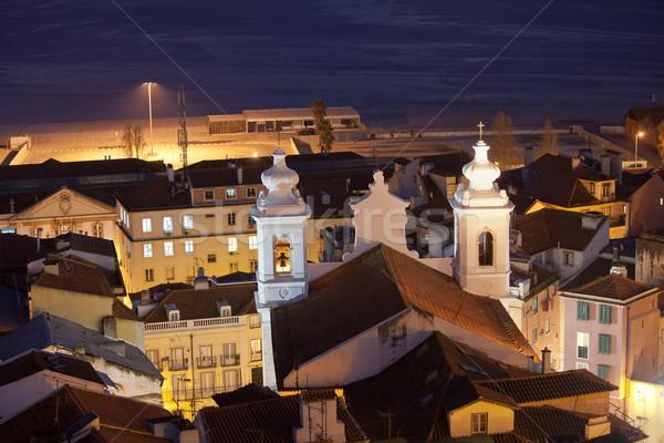 Chiesa notte Lisbona città torri Foto d'archivio © rognar
