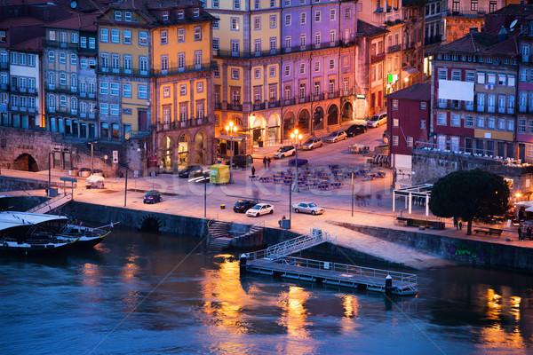 Vieille ville Portugal crépuscule ville historique maisons Photo stock © rognar