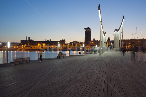 вечер Барселона город прогулка порта здании Сток-фото © rognar