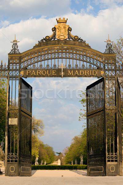 Park entree Madrid Spanje natuur tuin Stockfoto © rognar