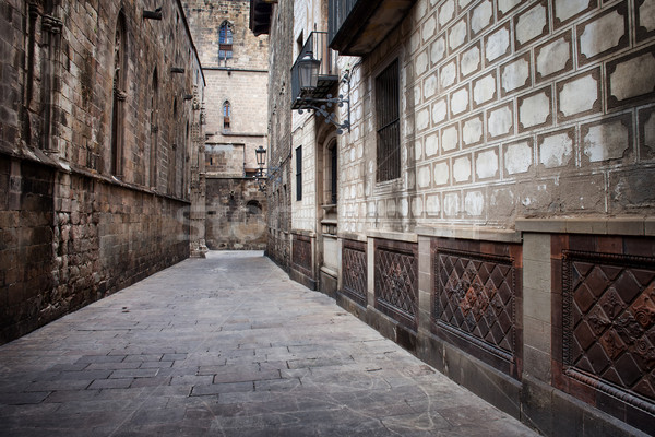 Beco gótico trimestre Barcelona arquitetura histórica velho Foto stock © rognar