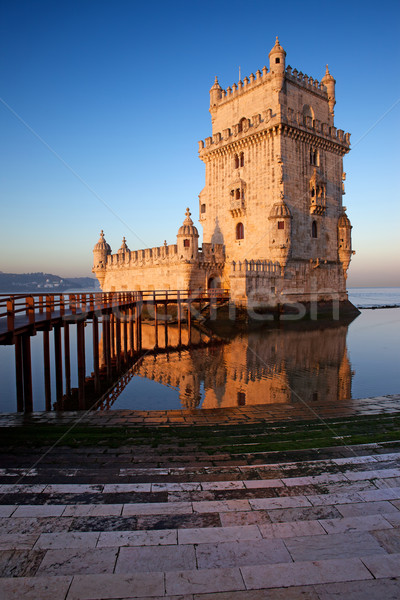 Sunrise at Belem Tower in Lisbon Stock photo © rognar