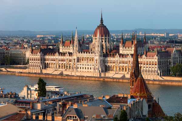 Parliament Building in Budapest at Sunset Stock photo © rognar
