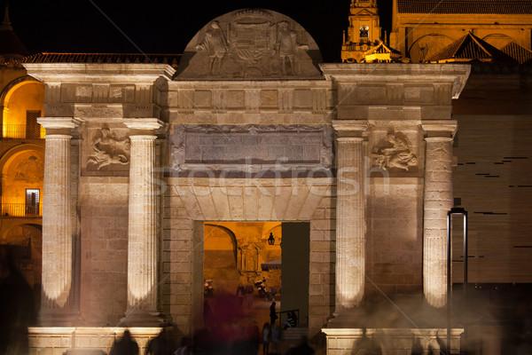 Puerta del Puente at Night in Cordoba Stock photo © rognar