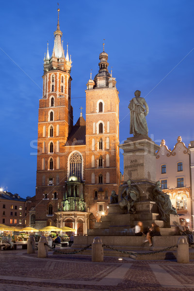 St Mary Basilica and Adam Mickiewicz Monument at Night in Krakow Stock photo © rognar