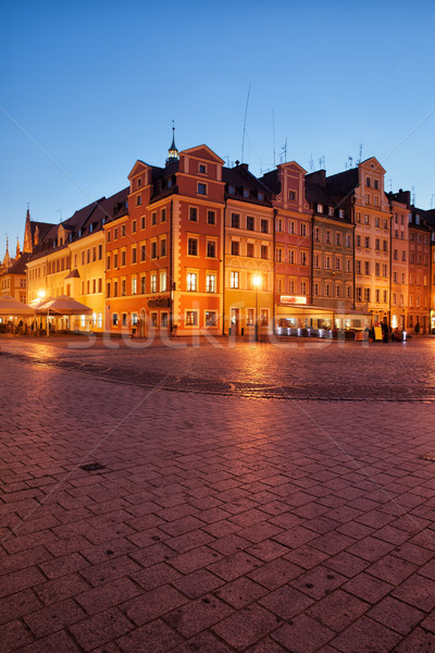 город старый город рынке квадратный ночь Польша Сток-фото © rognar