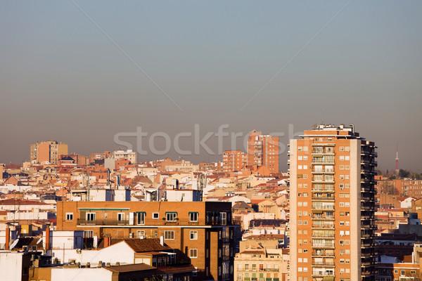 Madryt Cityscape rano miasta Hiszpania mieszkaniowy Zdjęcia stock © rognar