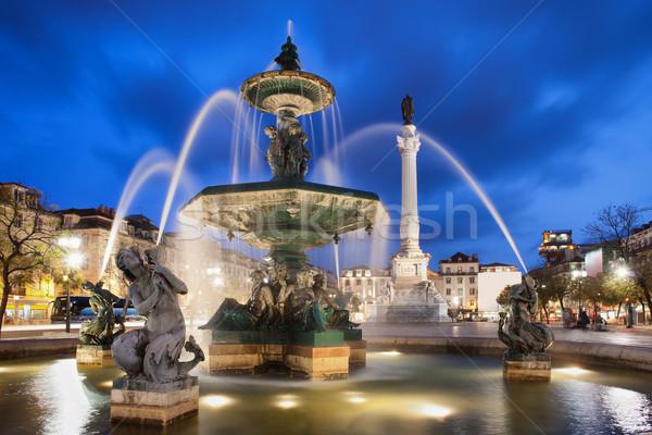 Лиссабон ночь фонтан квадратный Португалия барокко Сток-фото © rognar