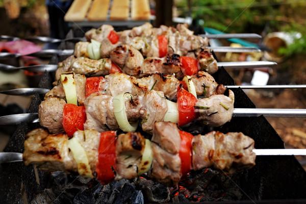 Közelkép égő füst hús szakács piknik Stock fotó © Roka