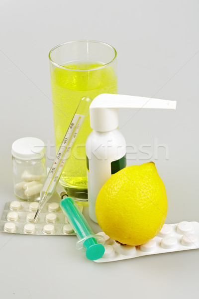 Medical supplies, tablets and capsules, spray throat and drink Stock photo © Roka