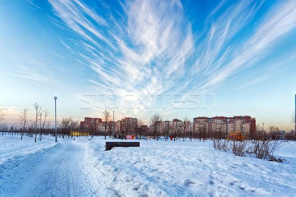 Tél tájkép város park égbolt hó Stock fotó © Roka
