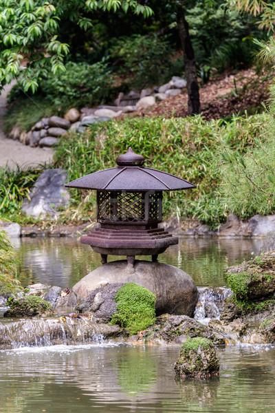 日本語 ランタン 庭園 水 池 花 ストックフォト © Roka