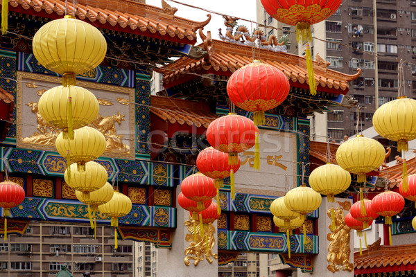 Chinese lantaarns kleurrijk papier opknoping tempel Stockfoto © Roka