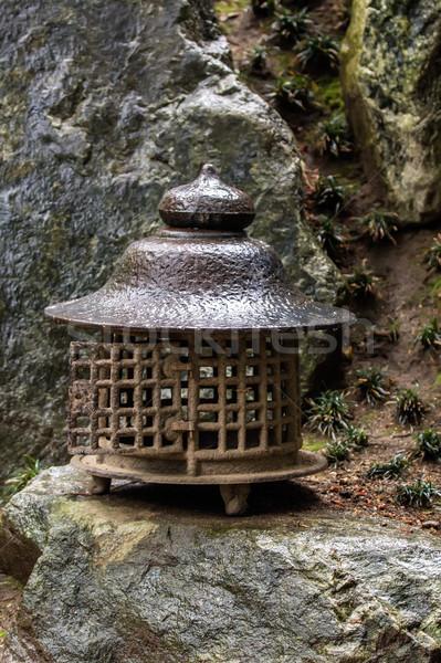 Japán lámpás hagyományos kert utca kék Stock fotó © Roka