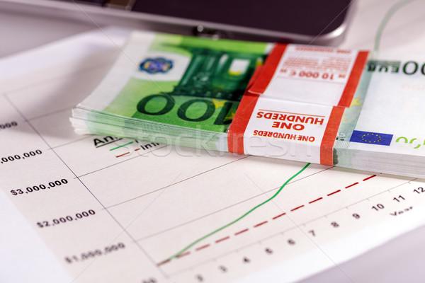 Grafikonok táblázatok üzlet asztal munkahely üzletemberek Stock fotó © Roka