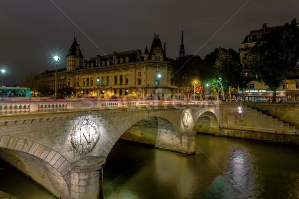 Frankrijk Parijs brug nacht Stockfoto © Roka