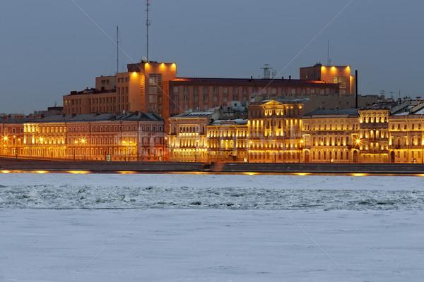 Noche vista agua ciudad construcción naturaleza Foto stock © Roka