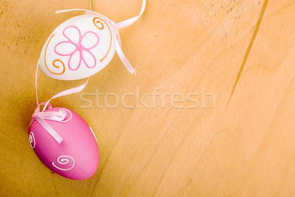 Пасху розовый яйцо продовольствие счастливым фон Сток-фото © Romas_ph