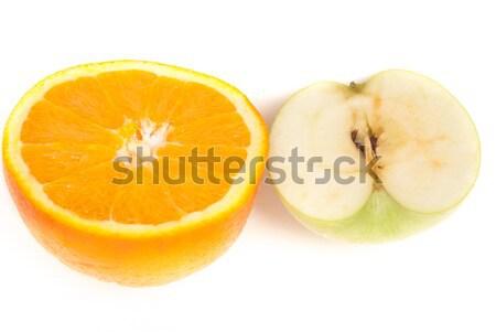 оранжевый два Ломтики большой яблоко изолированный Сток-фото © Romas_ph