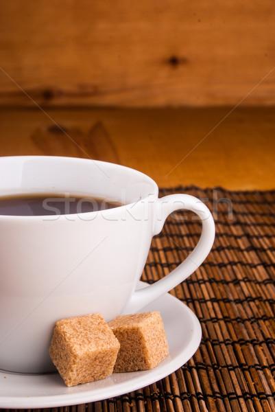 кофе таблице коричневого сахара эспрессо белый Кубок Сток-фото © Romas_ph