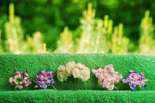 пасхальных яиц домой украшение пространстве текста цветы Сток-фото © Romas_ph