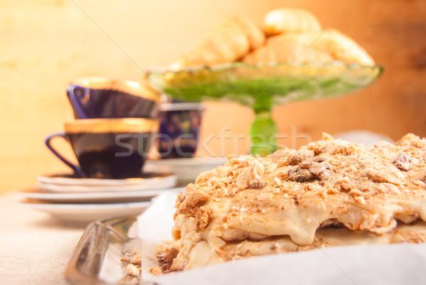Torta vajkrém asztal egyéb sütik csészék Stock fotó © Romas_ph