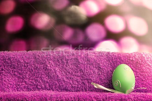пасхальных яиц Пасху украшение яйца турецкий полотенце Сток-фото © Romas_ph