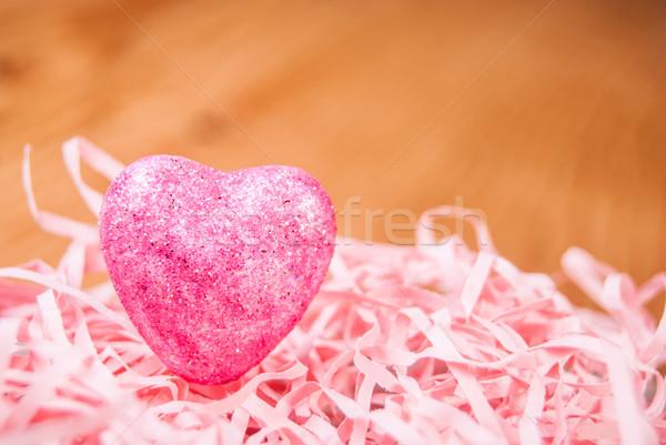 сердце корзины розовый древесины свадьба аннотация Сток-фото © Romas_ph