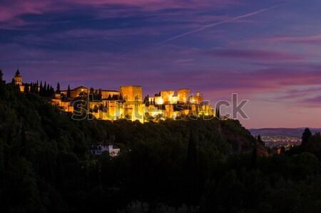 Fotó Alhambra Spanyolország gyönyörű naplemente kilátás Stock fotó © Romas_ph