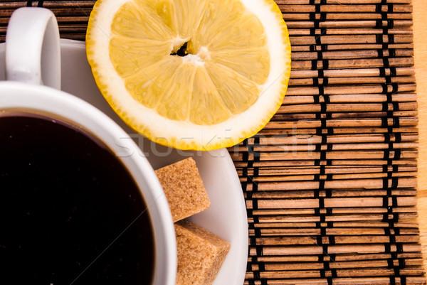 Kahve tablo esmer şeker espresso beyaz fincan Stok fotoğraf © Romas_ph