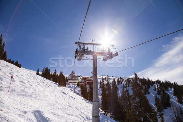 Ski chair lift at Alps Stock photo © romitasromala