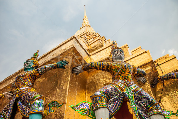 Demon statues at Wat Phra Kaew in Grand Palace, Bangkok Stock photo © romitasromala
