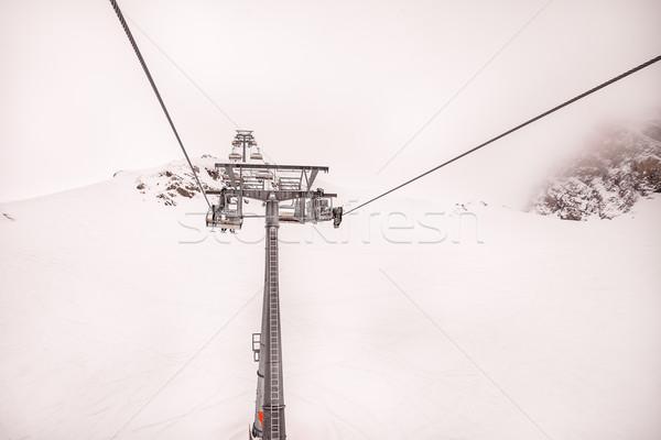 Ski chair lift of mountains Stock photo © romitasromala